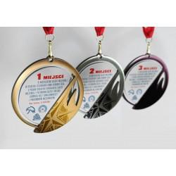 Medal szklano metalowy