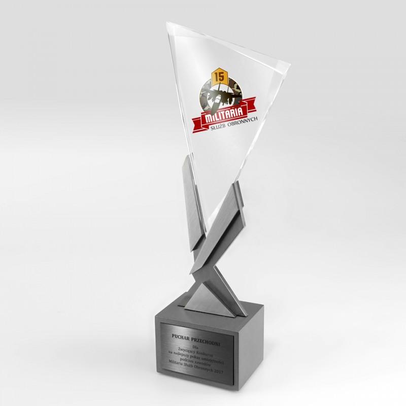 Puchar sportowy szklano metalowy