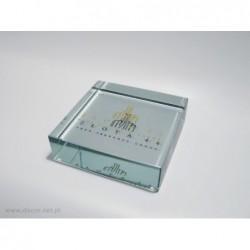 Przycisk szklany ze złotym grawerem K-9