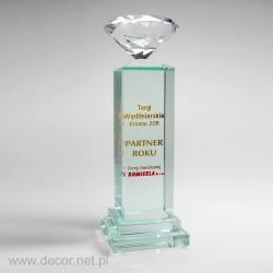 Statuetka szklana, kolumna z diamentem