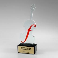 Sklenená soška Husle - Fusing - Sklenené ocenenia