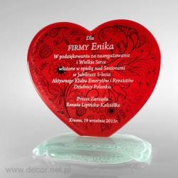 Sklenená srdcová soška - Fusing - Sklenené ocenenia