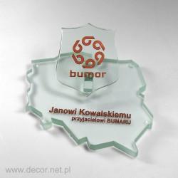Statuetka szklana w formie mapy