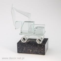 Sklenené miniatúrne rýpadlo