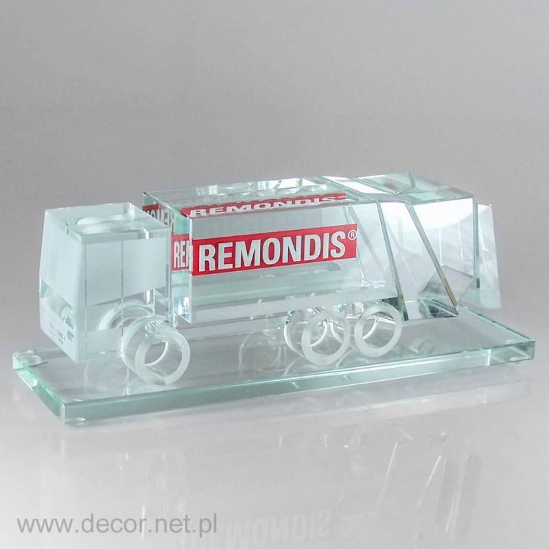 Sklo miniatúrne smetiarske auto