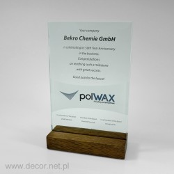 Glass diploma on a wooden...