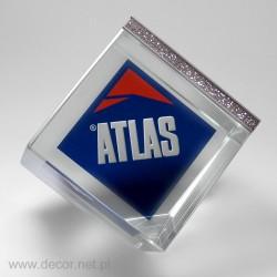 Przycisk szklany - Błyszczący Sześcian ATLAS