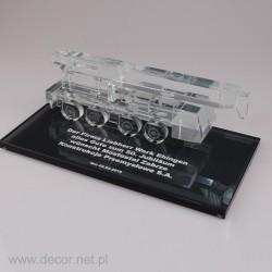 Szklana miniatura dzwigu...