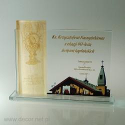 A glass diploma, a souvenir...